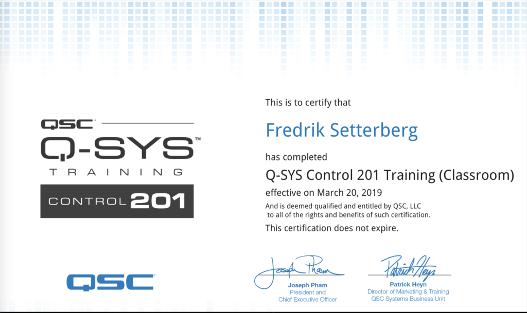 Q-Sys Control Level 201